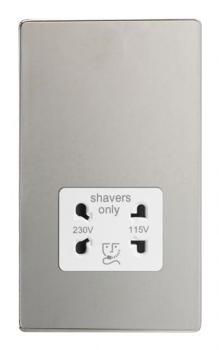 Varilight XDCSSWS Screwless Polished Chrome Dual Voltage Shaver Socket 240V/115V